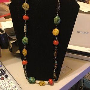 "Handmade Beaded Necklace  Silver Chain 13"" length"